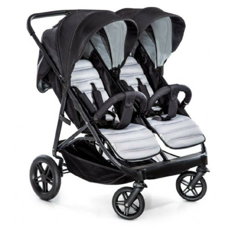 Hauck Rapid 3R 1 Hand Fold Duo Twin Double Buggy Pushchair Pram Charcoal Silver